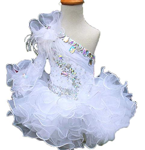 Junguan Infant Girls Wedding Party Gowns Newborn Pageant Tutu Cupcake Dress 2 US White for $<!--$73.99-->