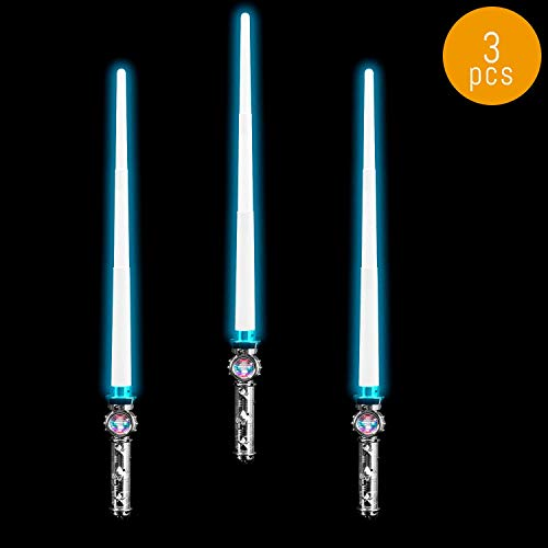 Lumistick LED Light Saber Sword | Lightsaber Glowing Swords Realistic Star Wars Toy 31 Inch Expandable Spinning Ball (Blue, 3 Swords)