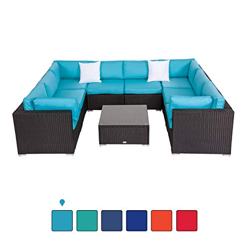 Peach Tree 9 PCs Outdoor Patio PE Rattan Wicker Sofa Sectional Furniture Set with 2 Pillows and Tea Table (Sectional 2 Pc)