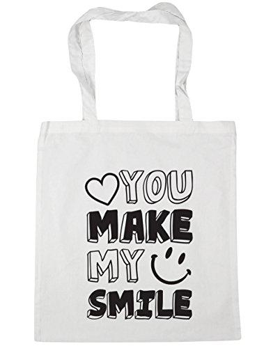 HippoWarehouse YOU MAKE mi sonrisa Tote Compras Bolsa de playa 42cm x38cm, 10litros blanco