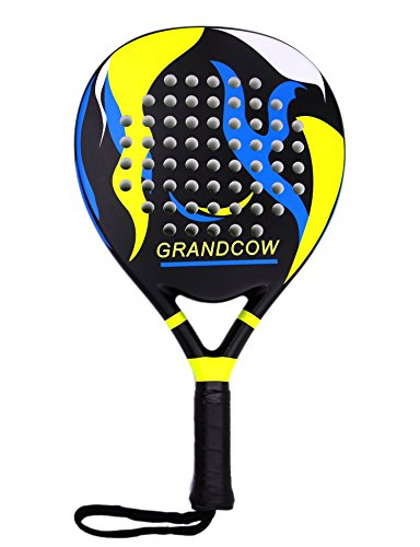GRANDCOW Tennis Padel Paddle Pro Carbon Fiber Power Lite Pop EVA Foam Beach Paddle Tennis Paddleball Racket Racquets (Black)