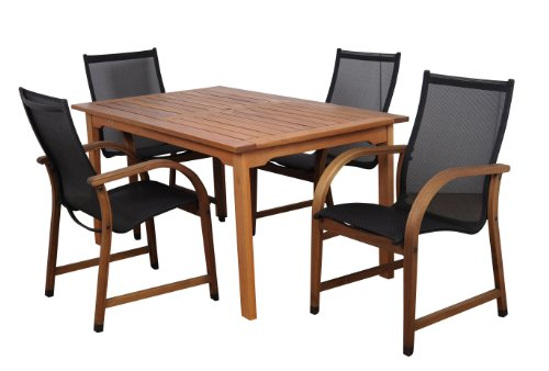 Amazonia Bahamas 5-Piece Eucalyptus Rectangular Dining Set - 【5-Piece Set】This set includes 4 high quality 100% FSC certified eucalyptus armchairs and 1 rectangular table. This set is ideal for both indoors and patio and will make your outdoors an elegant space to enjoy with family and friends. 【Dimensions & Weight】1 Rectangular Table 59W x 36L x 29H. 4 armchairs 22W x 23L x 37H 【Sturdy & Durable Design】Amazonia products can be left outside throughout the year and can withstand all types of weather, but it is recommended that they are treated with a wood sealer oil to maintain the golden-reddish finish. - patio-furniture, dining-sets-patio-funiture, patio - 41%2BULtsUL8L -