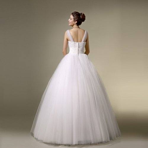 Dearta Mit Elfenbein V Bodenlang Perlenstickerei Ausschnitt Drapiert Tuell Ballkleid Kleidungen Brautkleider Damen rAqnwRfr