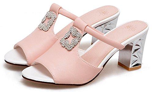 Aisun Mode Peep Ornement Mules Rose Sandales Soirée Femme Strass Chunky Toe r5gErpx