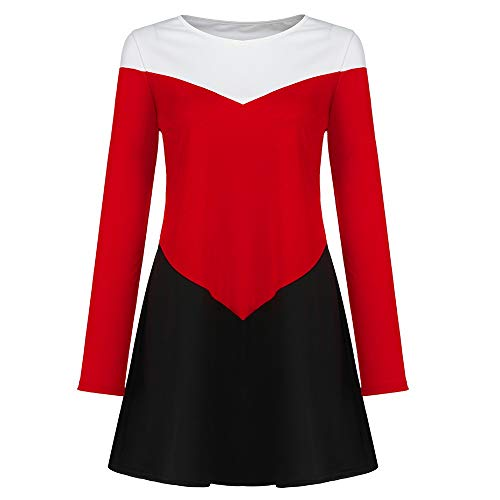 HYIRI✈Temperament Mini Dresses for Women T Shirt Solid Crew Neck Tunics Self-tie Half Sleeves Blouse Dresses ()