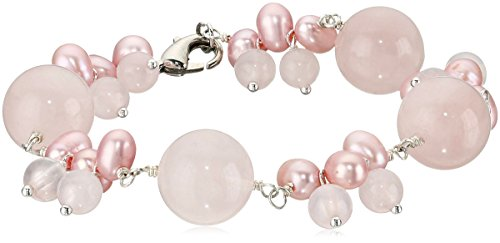 """Rose Quartz Bead and Pink Ringed Dyed Freshwater Cultured Pearl with Sterling Silver Clasp Bracelet, 7.5"""""""