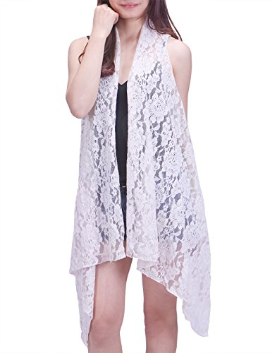 HDE Womens Open Front Lace Cardigan Sleeveless Asymmetric Drape Hem Vest Coverup (White, XL-2X)