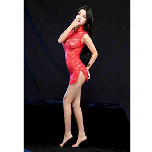 Sexy Lingerie Classic Cheongsam Lace Suit Luru Transparent Temptation Perspective(White , Rose Red , Purple , Red , Black) , red , one size
