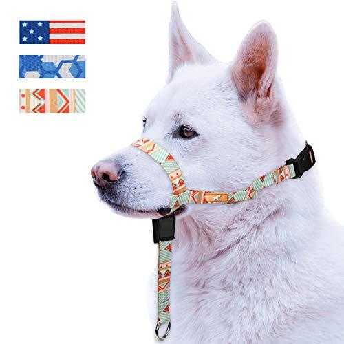 Colorful Dog Head Collar with 3 Beautiful Designs, Head Harness Stops Dog Pulling, Head Leash(M,Green - Head Dog Harness