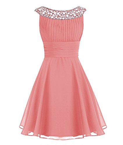 (Wedtrend Women's Chiffon Bridesmaid Dress Short Halter Prom Dress WT12002 Coral 6)