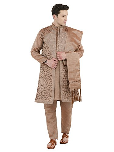 (SKAVIJ Men's Embroidered Kurta Pajama Jacket and Stole Set (X-Large, Brown))