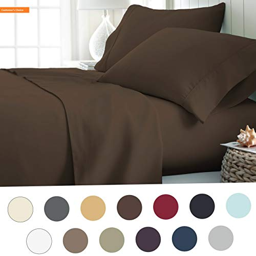Mikash New Soft Hotel Collection Luxury Soft Brushed Bed Sheet Set, Hypoallergenic, Deep Pocket, Twin, Chocolate | Style 84598960