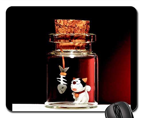 (Mouse Pads - Small Sculpture Glass Jar Vase Flask Cat)