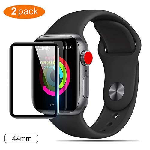 Thrikgold 2 Pcak Apple Watch 4(44mm) Screen Protector, 3D Curved Anti-Bubble Ultra HD Tempered Glass Case Friendly Screen Protector,for Apple Watch 4(44mm),Easy Install - Black
