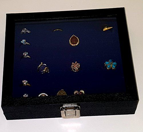Glass Top Black Jewelry Display Case With 36 Slot Bright Blue Ring Display Insert