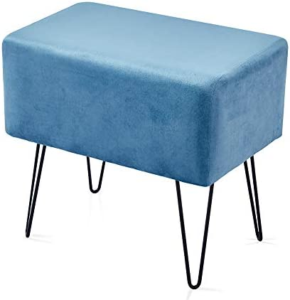 Mxfurhawa Blue Modern Velvet Vanity Stool Chair Ottoman Bench Footrest Makeup Chair