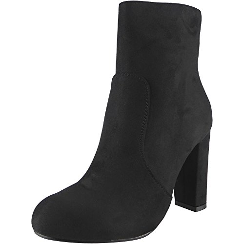 Womens Faux Suede High Block Heel Ankle Boots Size 3-8 Black G7Iz18f0Q