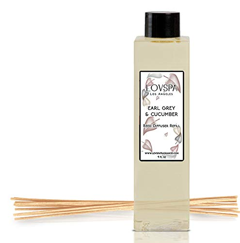 LOVSPA Earl Grey & Cucumber Reed Diffuser Oil Refill with Replacement Reed Sticks | Scent for Kitchen or Bathroom, 4 oz| Made in The USA