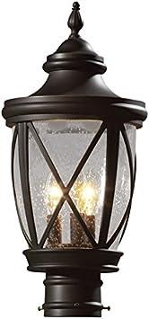 Allen Roth Castine 19 5 In H Rubbed Bronze Post Light Amazon Com