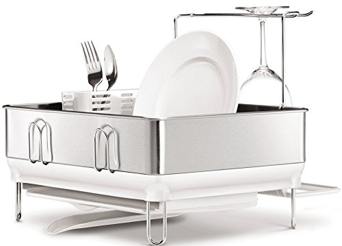 simplehuman Compact Steel Frame Dish Rack with Wine Glass Holder, Brushed Stainless Steel, White by simplehuman