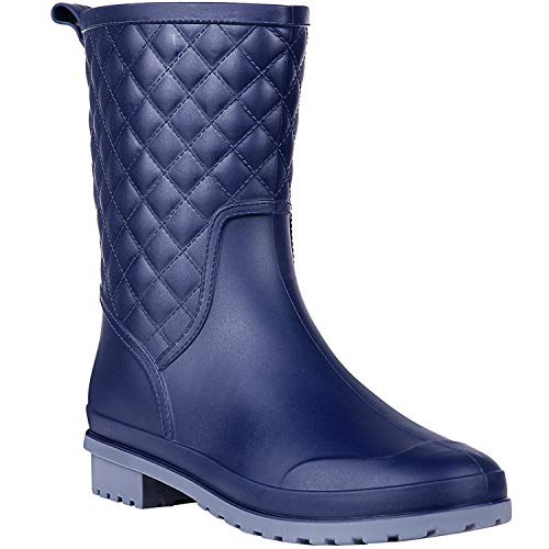 yellow and navy rain boots - 9