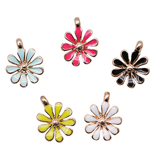 JETEHO 20Pcs Flower Charms Enamel Chrysanthemum Flowers Charms Cute Assorted Bracelet Charms Pendants for Jewelry Making