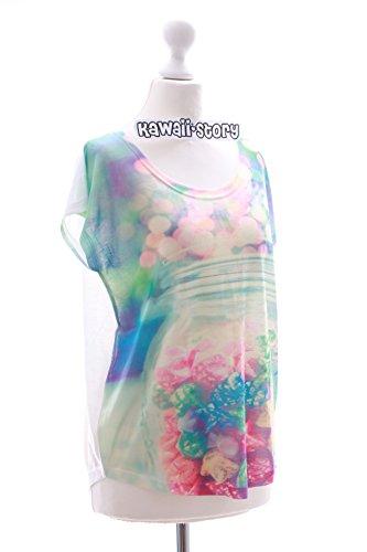 TP-17 Pastel Sterne bunt Candy süß Print kurzarm T-Shirt Lolita Harajuku Japan