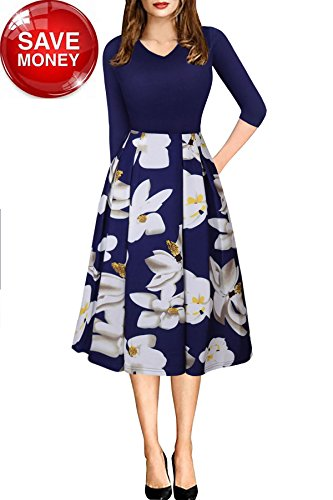 Floral Design Brooch - Fall Dress for Women with Sleeve Casual Vintage Floral Pocket Fit and Flare Dress Mid Length Medium Navy Blue