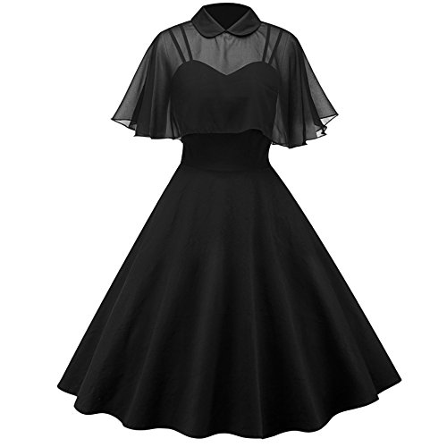 ge Peter Pan Collar Pin up Dress with Sheer Mesh Cape ()