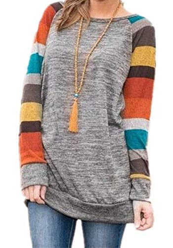 PINUPART Women's Color Block Long Sleeve Sweatshirt Cotton Jersey Tunic Tops XXLarge Huang