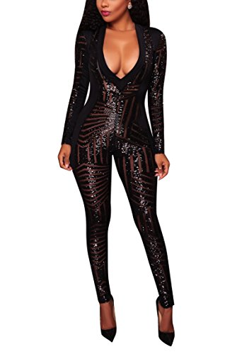 (OLUOLIN Women's Long Sleeve Bodycon Sequins See Through V Neck Skinny Sexy Jumpsuit Romper Black)