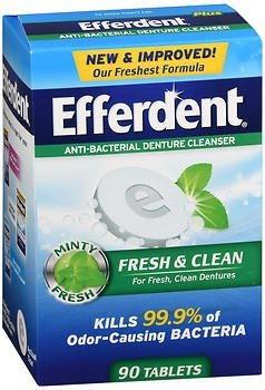 Plus Tablets Cleanser Efferdent Denture (Efferdent Plus Mint Denture Cleanser Tablets 90 ea (Pack of 2))
