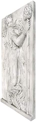 Design Toscano Dancing Greek Maenad with Thyrsus Left 5th Century BC Wall Frieze, Single, Antique Stone
