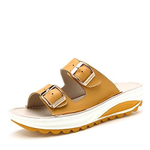 Cómodo Los deslizadores al aire libre al aire libre del verano calzan las sandalias gruesas Antideslizante con los deslizadores inferiores planos (4 colores opcionales) (tamaño opcional) Aumentado ( C B