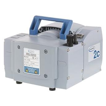 "BrandTech 732300 PTFE MZ2C NT Dry Chemistry Diaphragm Pump with CEE Plug, 230V Power Supply, 1.12cfm Pumping Speed, 9.57"" Width x 7.80"" Height x 9.57"" Depth"