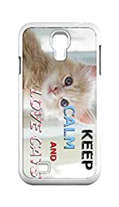 Cool Painting keep calm and love cats Snap-on Hard Back Case Cover Shell for Samsung GALAXY S4 I9500 I9502 I9508 I959 -613