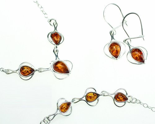 Silver and Amber Jewelry Set, Honey Amber Drop Jewelry Set, Matching Necklace, Bracelet, Drop Earrings Set in Sterling Silver