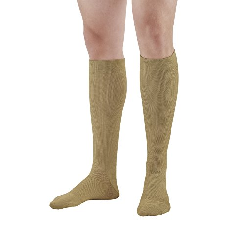 Ames Walker AW Style 132 Cotton 15 20mmHg Moderate Compression Knee High Socks Khaki Medium Relieves Tired Aching and Swollen Legs Symptoms of varicose Veins Graduated Compression - Khaki Unisex Socks