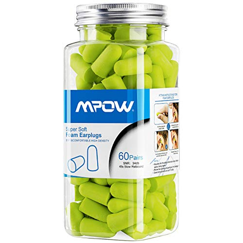Mpow Foam Earplugs 60 Pairs with Aluminum Carry Case, 32dB NRR Ear Plugs, Soft Earplugs Noise Reduction for Hearing Protection, Earmuffs, Hunting Season, Sleeping, Working, Shooting, Travel