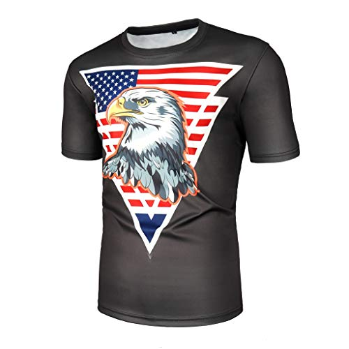 Mens o Neck tees, Summer American Flag Print t Shirts Short Sleeve Blouse Casual Cotton Round Neck Tunics Tops Sportwear (Black, S)
