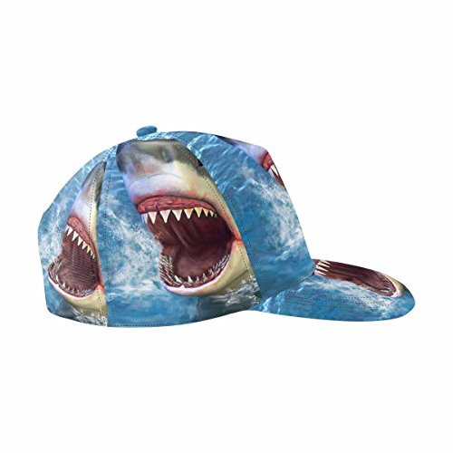 InterestPrint Great White Shark Jumping Out of Water Unisex Hip Hop Snapback Hats (A Shark Jumping Out Of The Water)