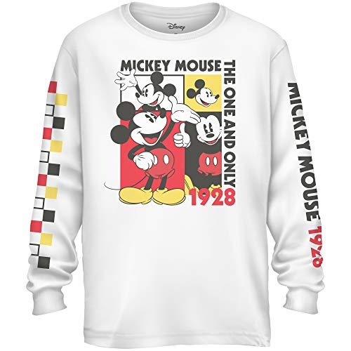 Disney Mickey Mouse 1928 Modern Mouse Box Tee Disneyland Adult Long Sleeve T-Shirt(White,X-Large)