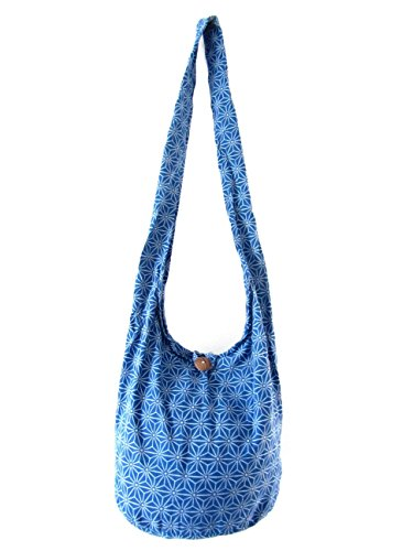 Thai Hippie Hobo Sling Crossbody Shoulder Bag Gypsy Boho for Women Star Medium (Deep Blue)