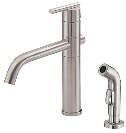 Danze D405558SS Parma Single Handle Kitchen Faucet with Matching Side  Spray, Stainless Steel