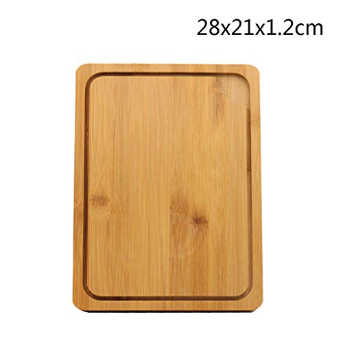 (Bamboo Cutting board With juice groove,Rectangle Pizza peel Double-sided use Serving trays Chopping plate Steak dish For meat butcher block and vegetables-A 28x21x1.2cm)