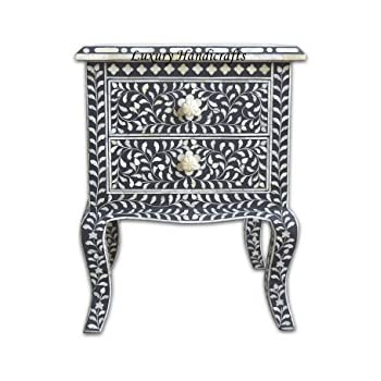 Amazon.com: Floral Bone Inlay Nightstand (Blue): Kitchen