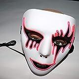 TAOtTAO Halloween Party Sound Reactive LED Mask Dance Rave Light Up Adjustable Mask Rave (Pink)