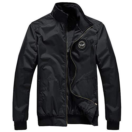 Hiver Noir Longues Coat Impression Manches Hommes Casual Automne Blouson Stand Zipper Homme Jacket Lettre 5ZqaBxgH