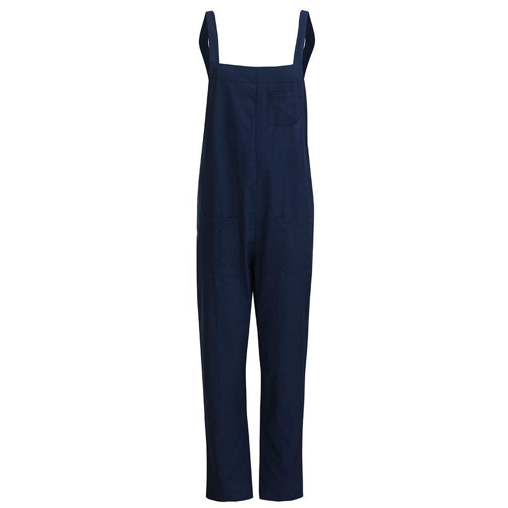 Womens Casual Jumpsuits Overalls Baggy Bib Harem Pants Playsuit Trousers Cotton Linen Dungarees