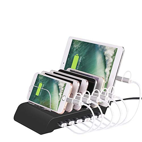 YTBLF USB Charging Station, Universal Desktop Tablet and Smartphone Multi-Device hub, 10.2A 6-Port Charging Dock for iPhone, iPad, Galaxy, Tablet,Black